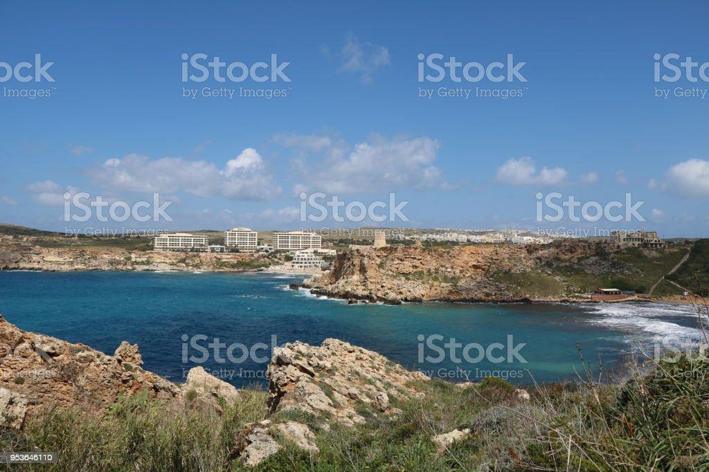 View from Peninsula between Gnejna Bay and Ghajn Tuffieha Bay, Mediterranean Sea Malta stock photo