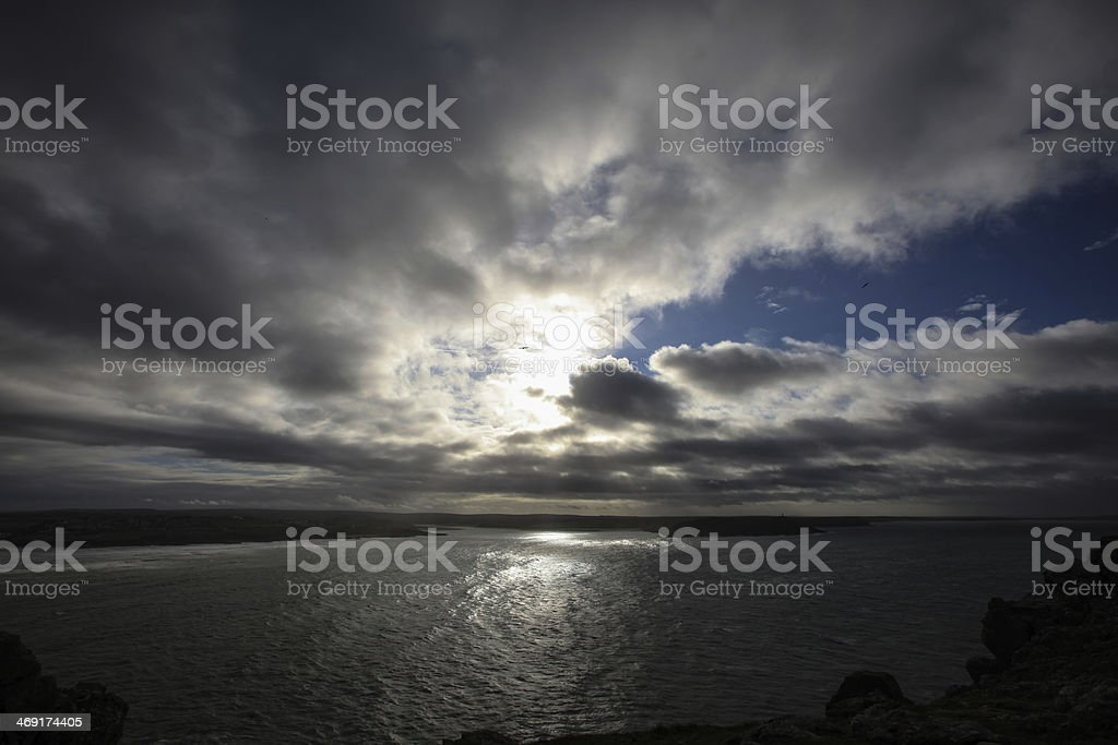 View from Pentire Point stock photo