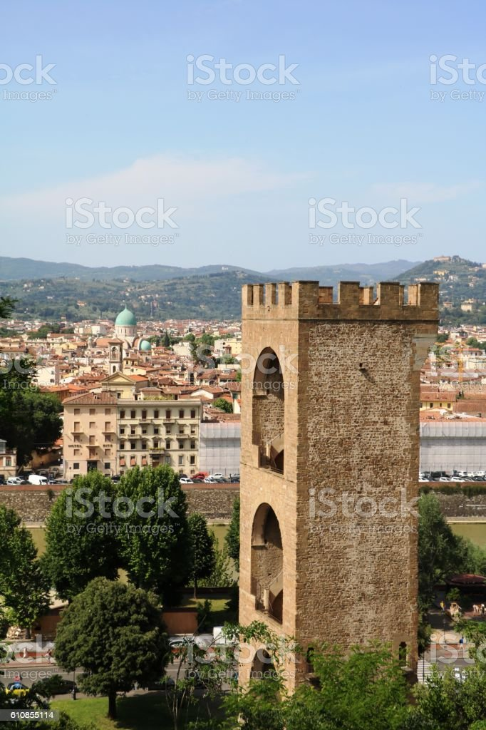 View from Piazzale Michelangelo to Porta San Niccolò, Florence Italy stock photo