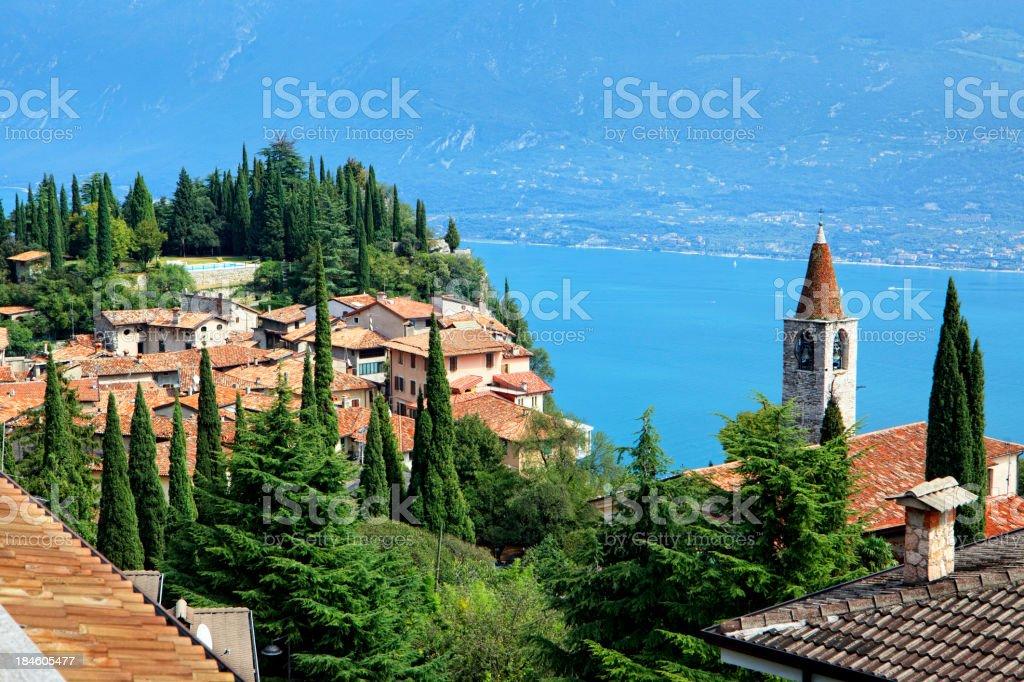 View from Pieve to Lake Garda royalty-free stock photo