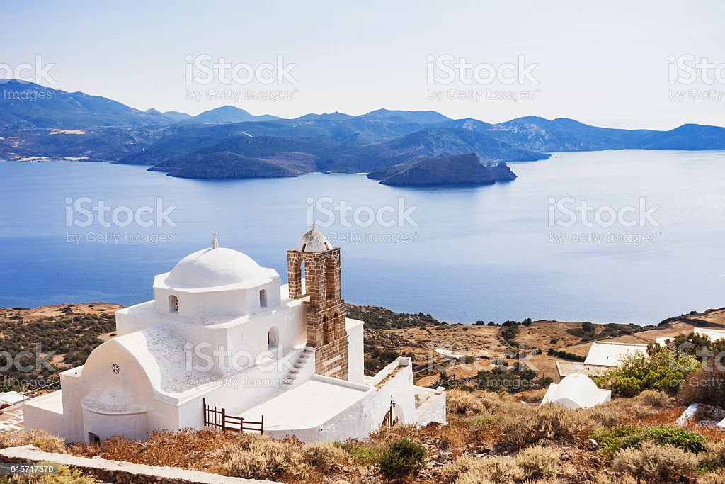 View from Plaka town, Milos island, Greece stock photo