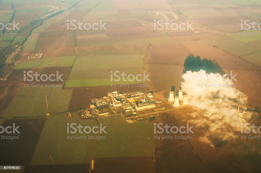 View from plane at  thermoelectric power station stock photo
