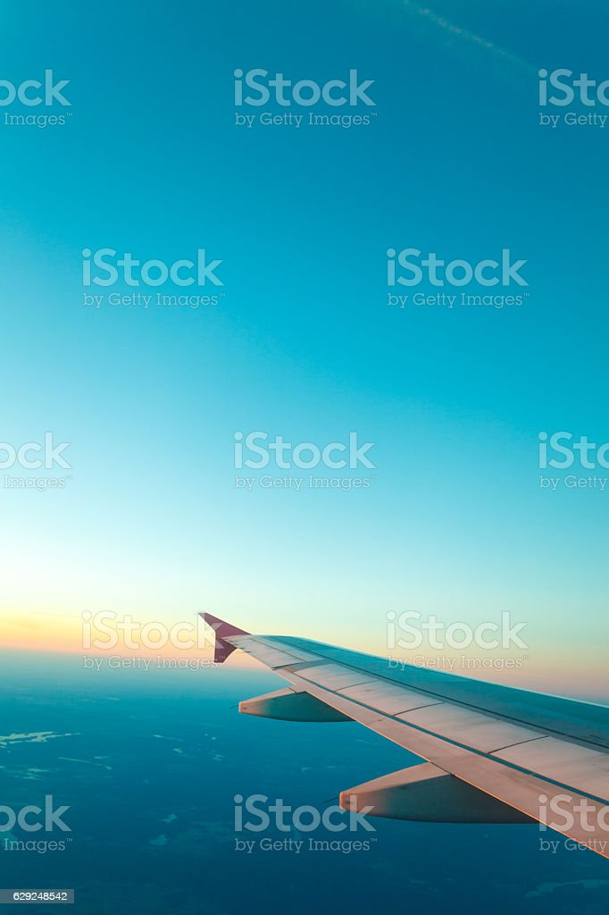 View from plane window. Clear sky stock photo