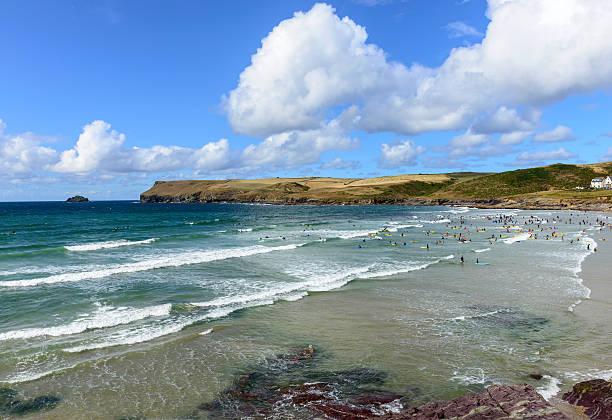 View from Polzeath Beach near Wadebridge stock photo