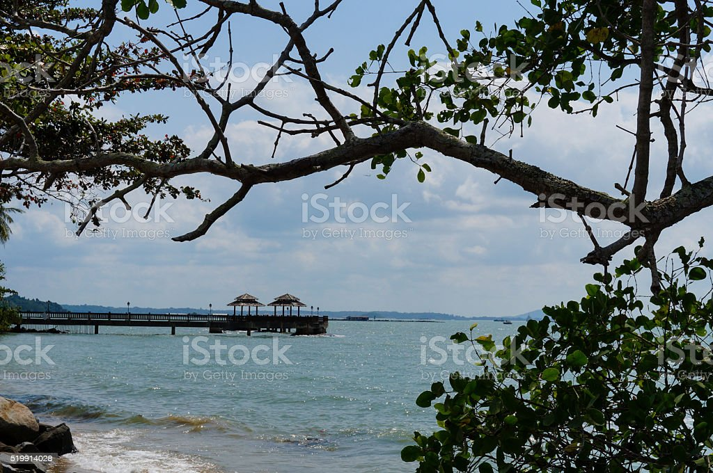 View from port Pulau Ubin, Singapore. stock photo