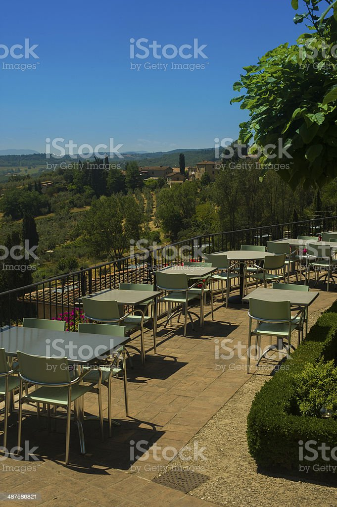 View from restaurant overlooking Tuscany countryside stock photo