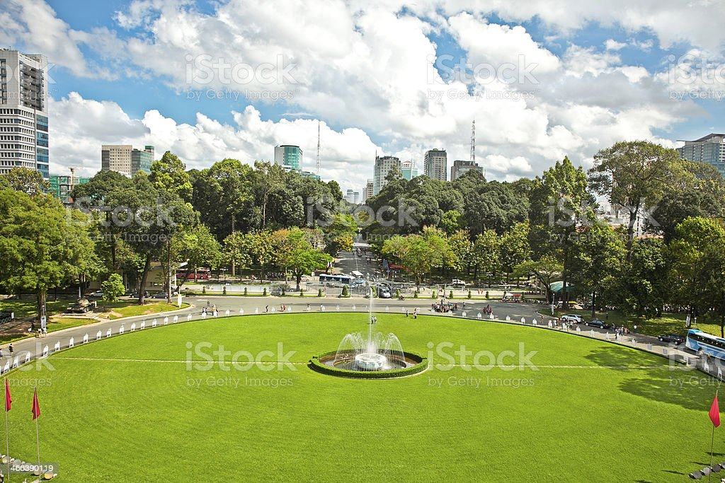 View from Reunification Palace in Ho Chi Minh City,Vietnam. stock photo