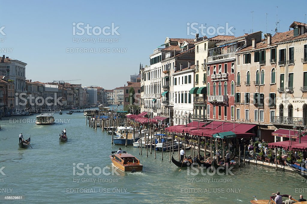 View from Rialto Bridge in Venice Italy of Grand Canal royalty-free stock photo