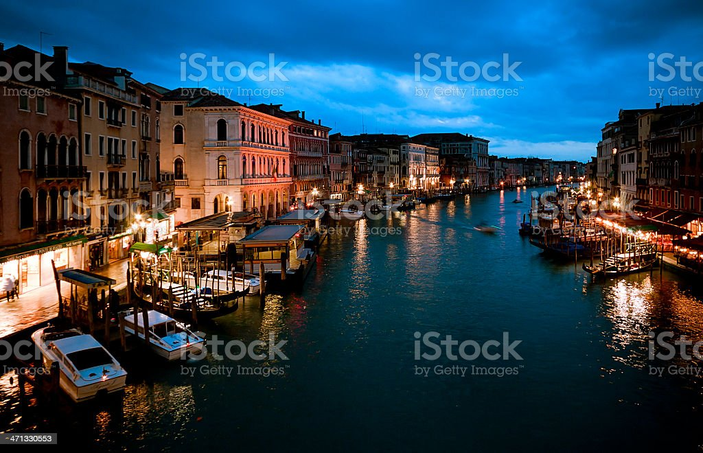 View from Rialto Bridge over Canal Grande in Venice royalty-free stock photo