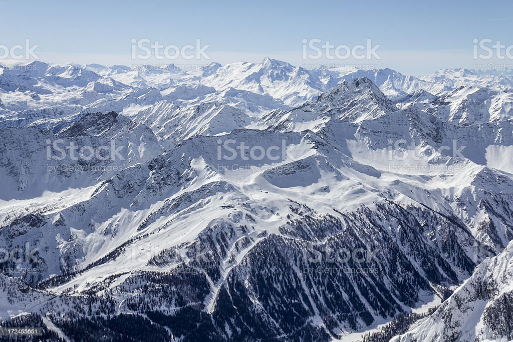View from rifugio Torino in the Mont Blanc massif stock photo