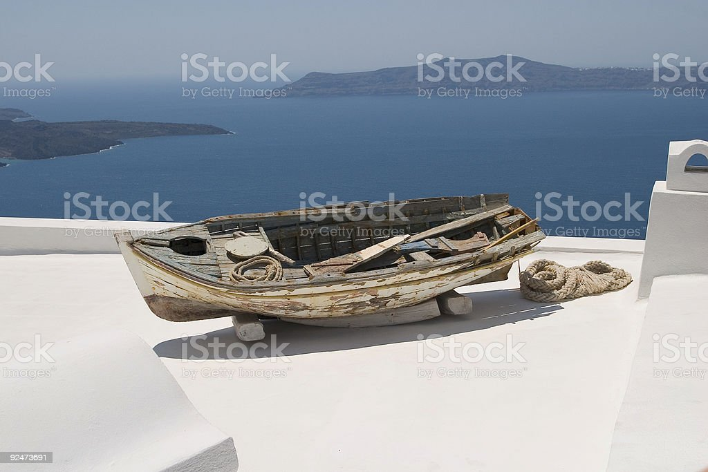 View from roof a traditional house in the Oia royalty-free stock photo