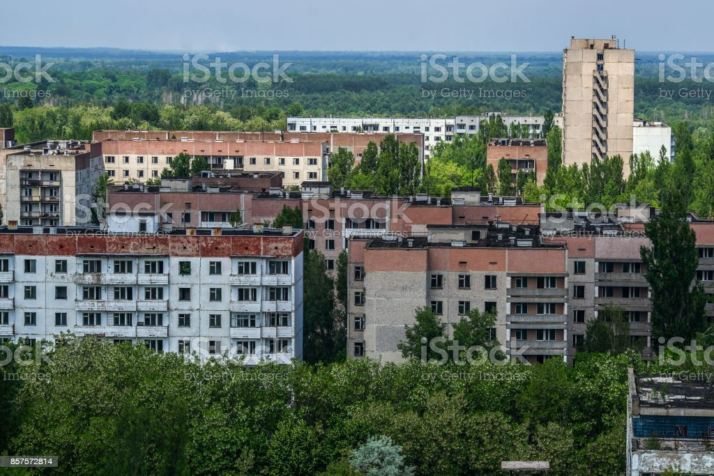 view from roof of 16-storied apartment house in Pripyat town, Chernobyl Nuclear Power Plant Zone of Alienation, Ukraine stock photo