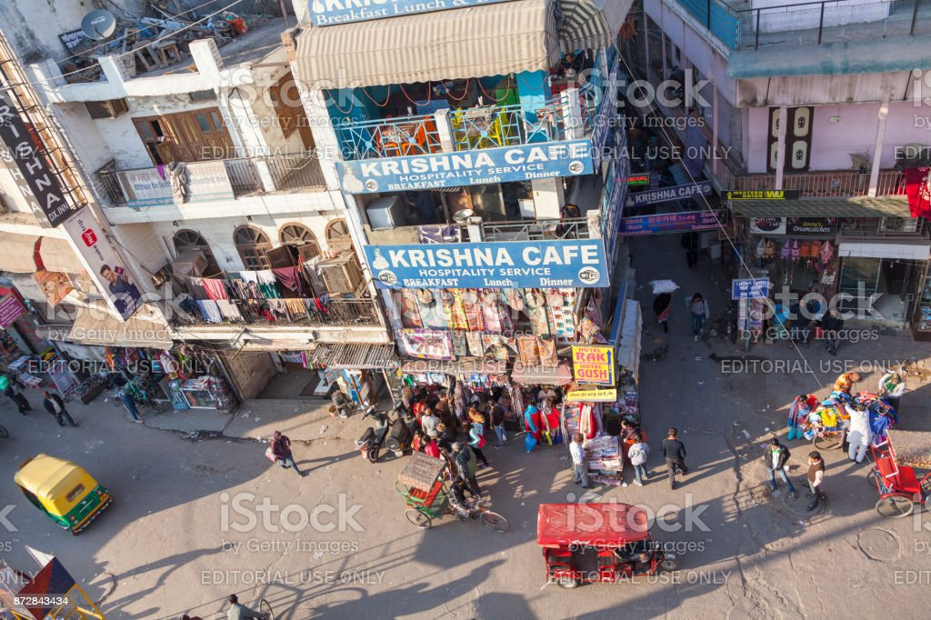 View from rooftop restaurant on Main Bazar. New Delhi, India