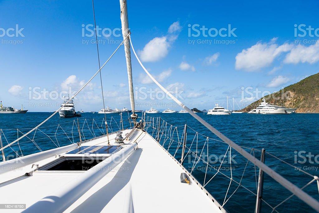 view from sailboat cruising Saint Barts harbor royalty-free stock photo