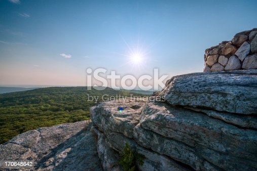 This is a horizontal, color photograph of the view from Sam's Point Preserve in the Shawangunk Mountains. Film grain has been added. The setting sun casts a lens flare.