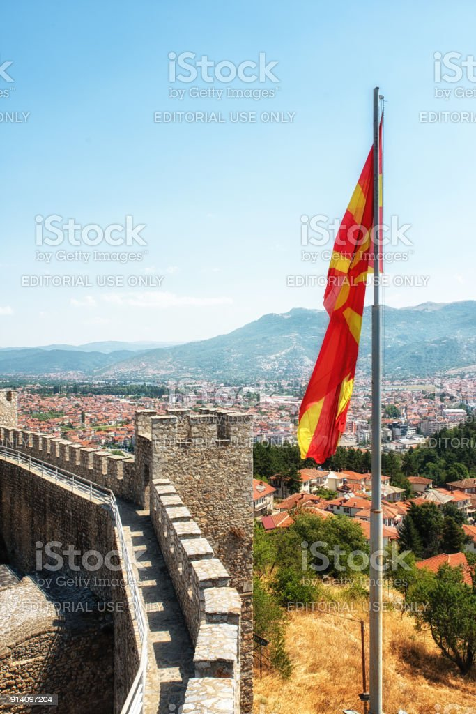 View from Samuels Fortress, Ohrid, Macedonia stock photo