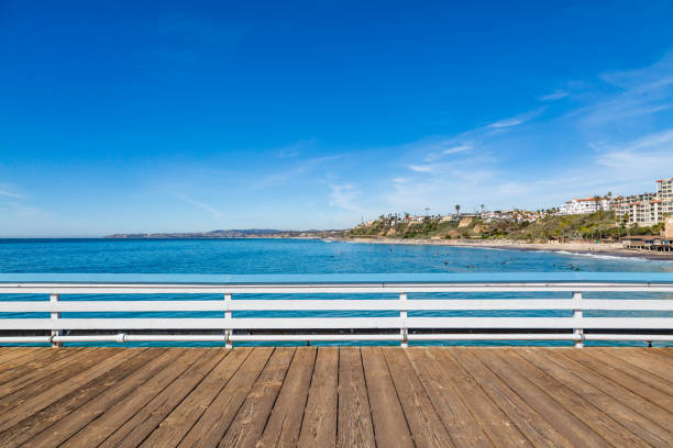 A View from San Clemente Pier, Southern California Looking out over the ocean from San Clemente Pier, California boardwalk stock pictures, royalty-free photos & images