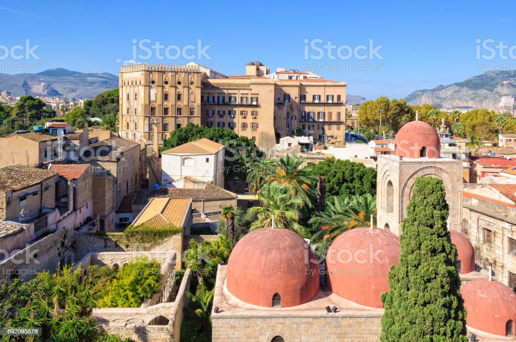 View from San Giovanni degli Eremiti - Palermo stock photo