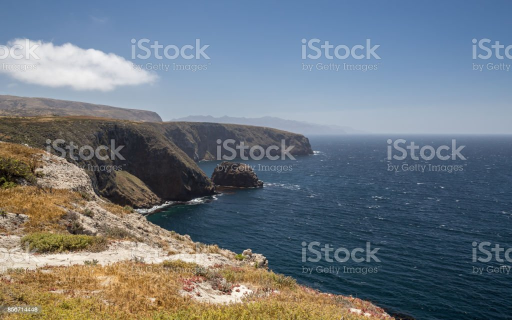 View from Santa Cruz Island with wide vista stock photo