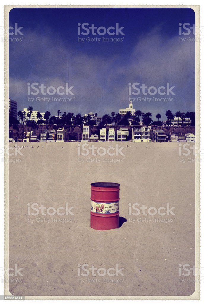 View From Santa Monica Beach - Vintage Postcard royalty-free stock photo