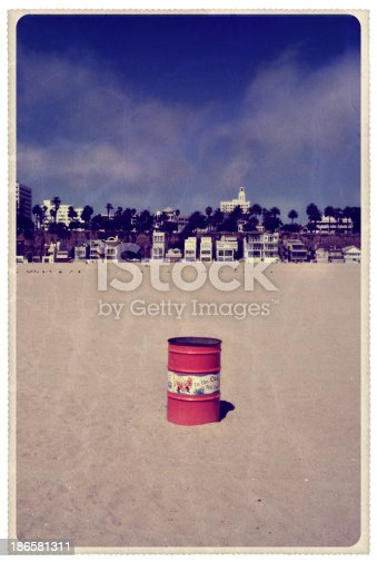 Retro-styled postcard of the Santa Monica skyline as seen from the beach -- all artwork is my own...For hundreds of similar vintage postcards from around the world, click the banner below.