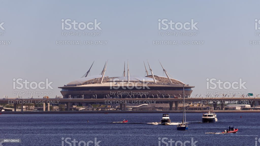View from sea on Zenit Arena football stadium, Saint-Petersburg, Russia royalty-free stock photo