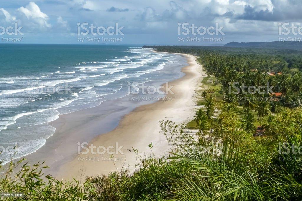 View from Serra grande mirante of coastline near Itacare stock photo