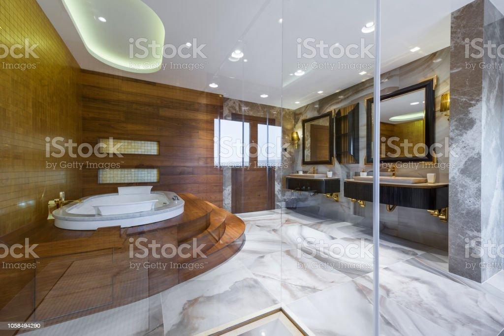 Blick Vom Badezimmr Kabine Auf Luxusbadezimmer Mit Whirlpool ...