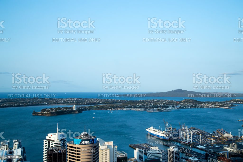 View from Sky Tower in Auckland, Australia stock photo