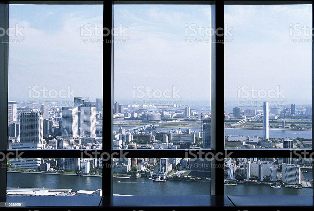 View from skyscraper at Tokyo Bay. stock photo