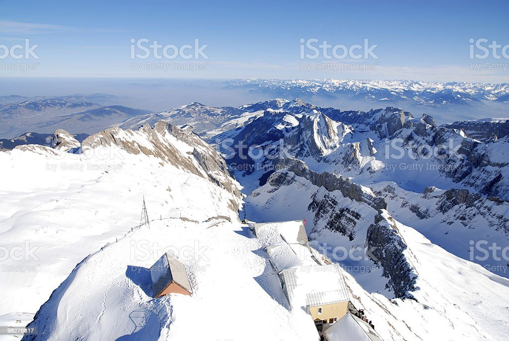 View from Säntis mountain over Alpstein to Austrian Alps royalty-free stock photo