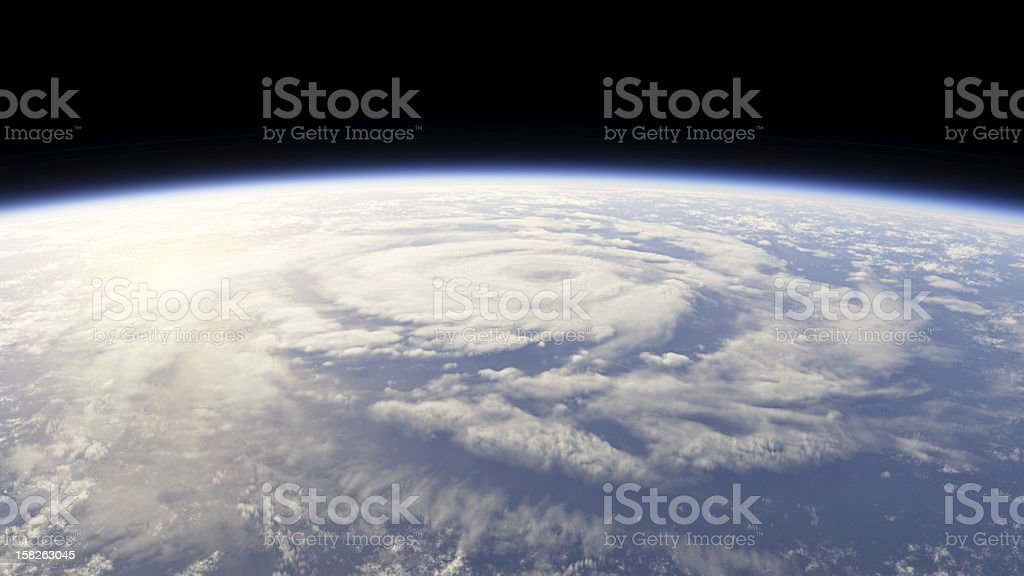 View from space of a hurricane on earth stock photo