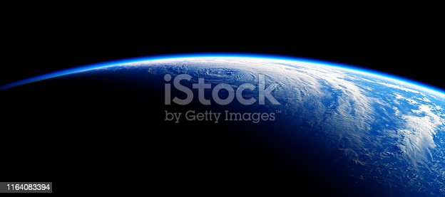 istock View From Space On The Blue Planet Earth. NASA Images Not Used. 1164083394