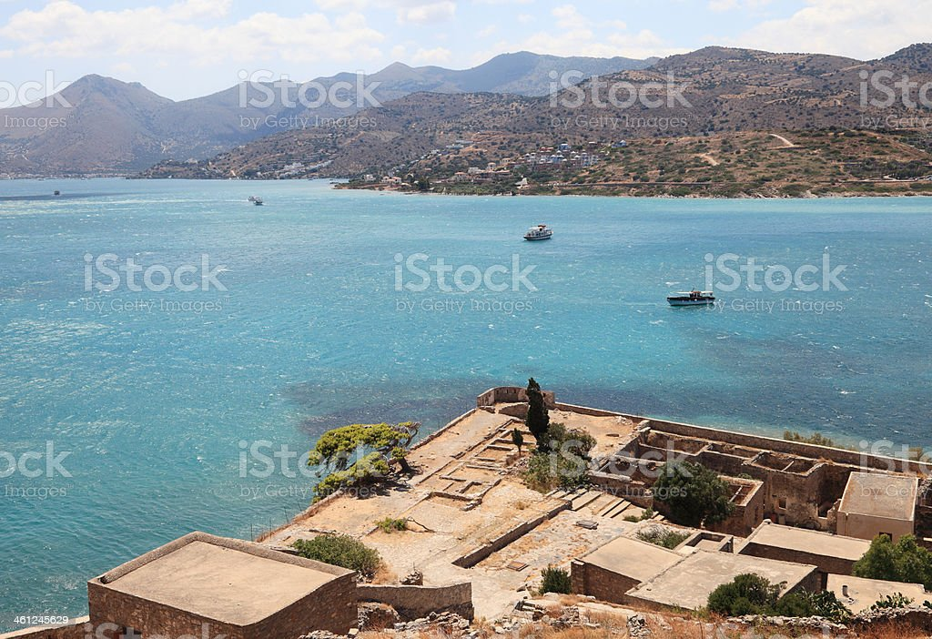 View from Spinalonga on the island of Crete stock photo