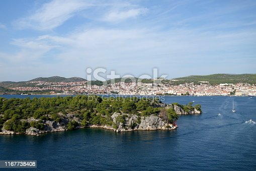 A panoramic view from St. Anthony's Channel to Sibenik, old and beautiful historic town in Dalmatia, region in Croatia, on the Adriatic Coast, Mediterranean, Europe travel destination