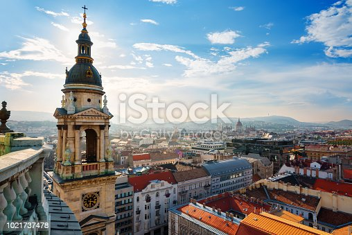 Panoramic view on Budapest from St Istvan basilica