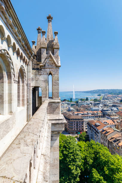 View from St. Peter's cathedral to the old town of Geneva, Switzerland stock photo