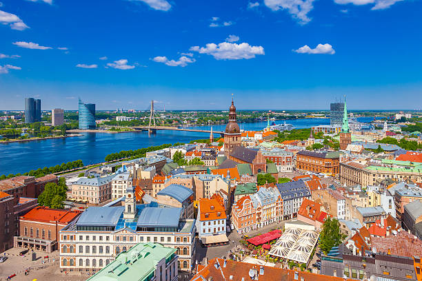 view from st. peters church on old riga, latvia. - 拉脫維亞 個照片及圖片檔