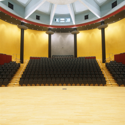 View from stage to empty audience seats