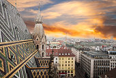 View of Vienna at sunset from Stephansdom- St. Stephen Cathedral in Vienna, Austria