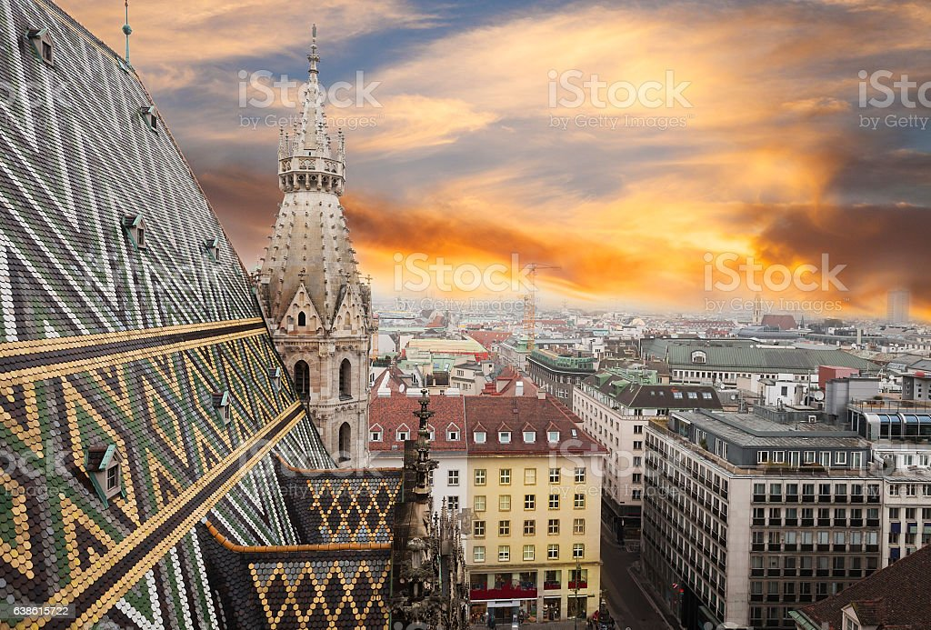View from Stephansdom- St. Stephen Cathedral in Vienna, Austria stock photo