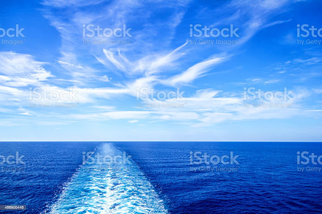View from stern of big cruise ship stock photo