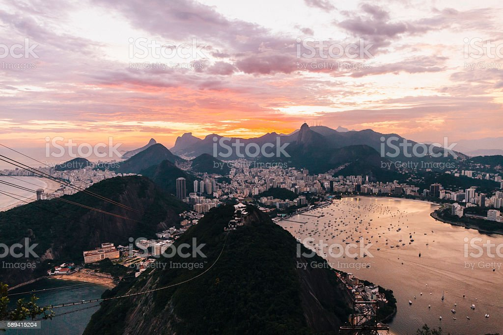 View from Sugarloaf Mountain at dusk, Rio de Janeiro stock photo