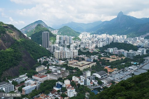 View from the Sugarloaf Mountain towards Botafogo district. The statue of Christ the Savior can be seen in the distance.