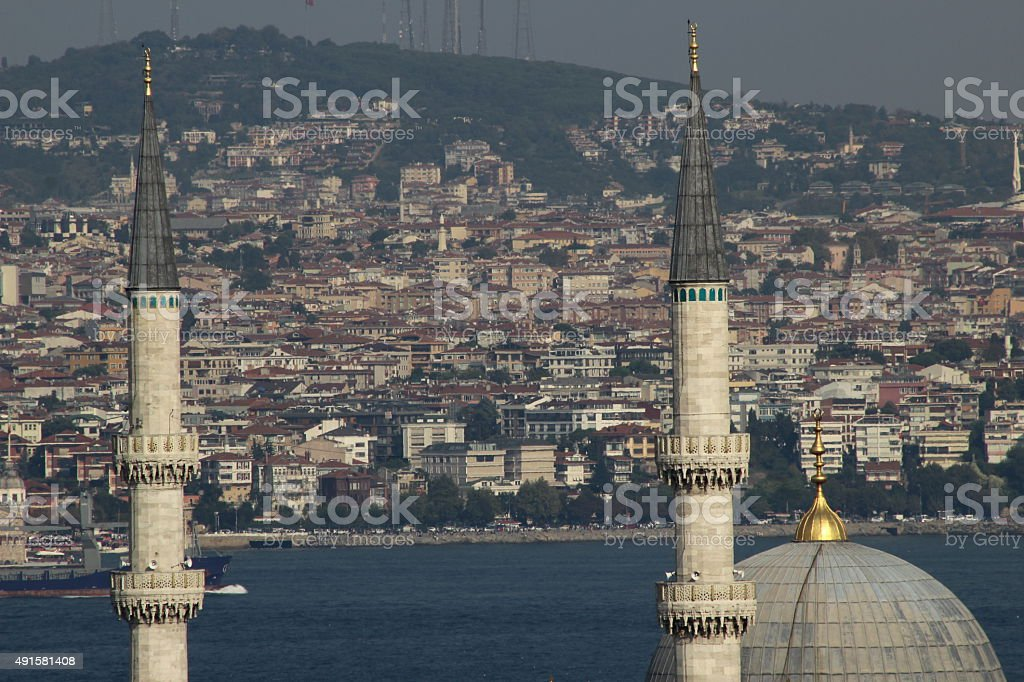 View from Suleymaniye over the city of Istanbul stock photo