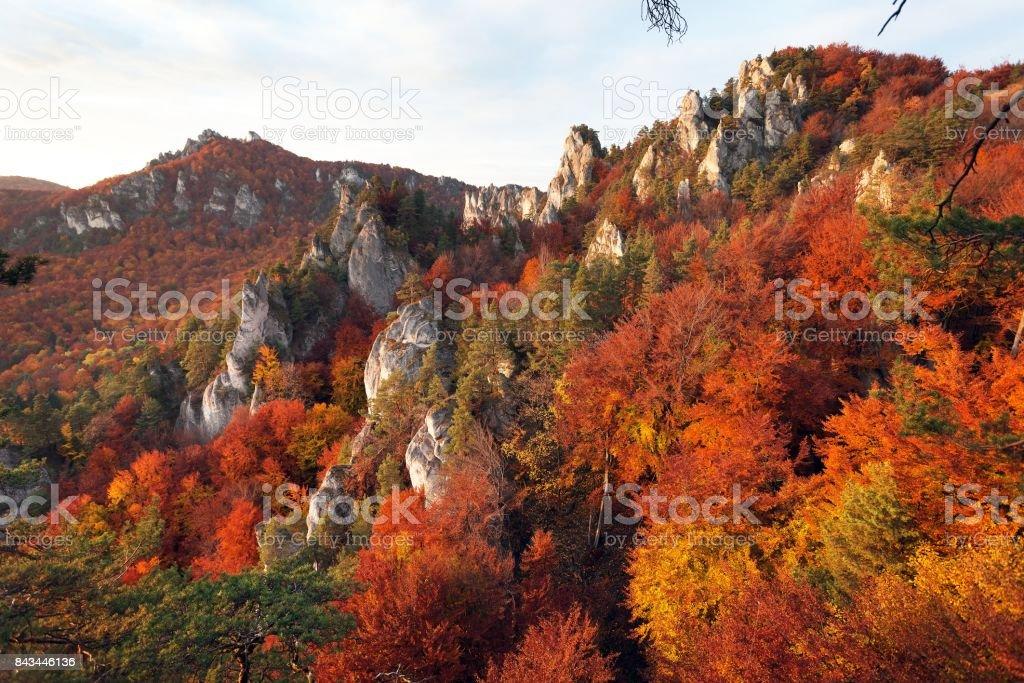view from Sulov rockies - sulovske skaly - Slovakia stock photo