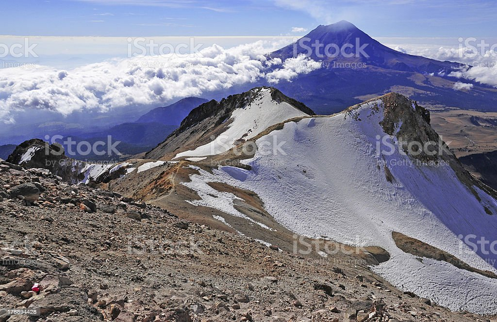 View from Summit of Iztaccihuatl, Mexico stock photo