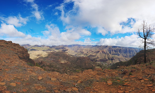 View from tauro summit to island of Gran Canaria