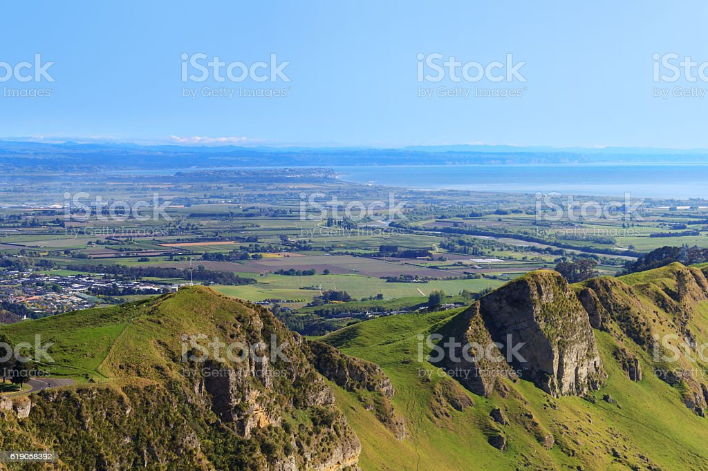 View from Te Mata Peak, Hawkes Bay, New Zealand stock photo