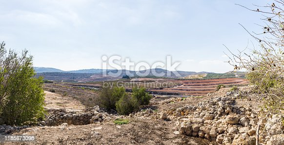 View from Tel Shilo to the nearby hills in Samaria region in Benjamin district, Israel